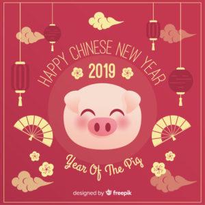 2019 Année du Cochon de Terre Yin